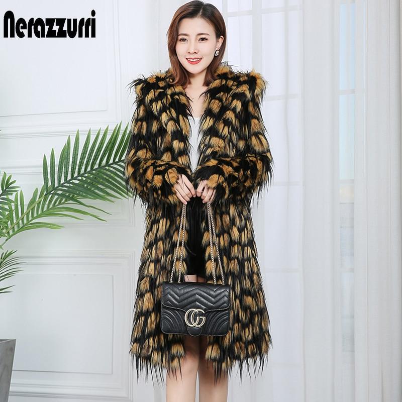 Nerazzurri women's faux fur winter coats with hood long sleeve thicken warm women fashion coats womans plus size faux fur coat