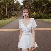2021 new high end swimsuit womens conservative one piece cover belly thin super fairy net celebrity fashion hot spring