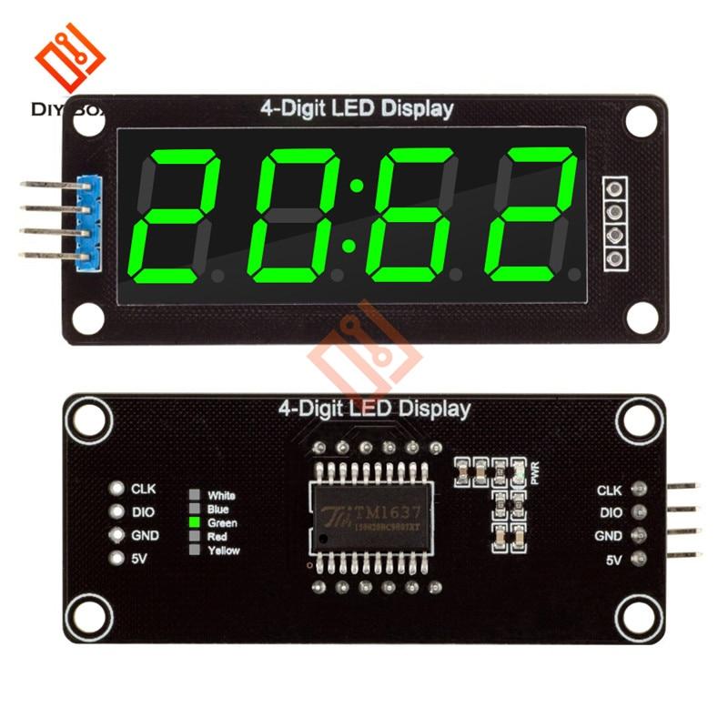5 uds., 4 dígitos, 7 segmentos, TM1637, 0,56 , tubo Digital electrónico, LED, módulo, reloj Digital, controlador, pantalla, 5 colores