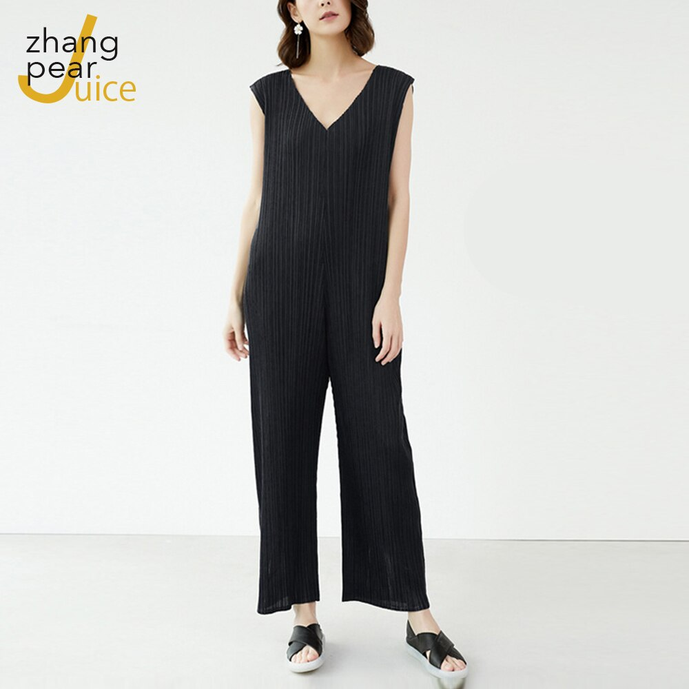 Fashion V Neck Casual Outfits Women's Jumpsuit Romper Elegant Sleeveless Street Wear Woman Jumpsuit New
