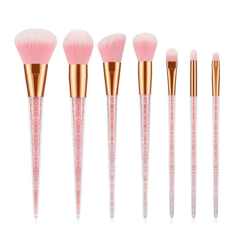Brochas de maquillaje Premium, 7 Uds., color rosa Diamante, mango de cristal, función completa, unicornio, portátil, cosmética, Belleza
