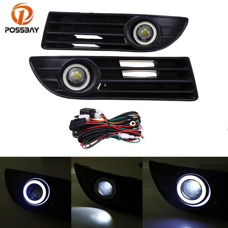 POSSBAY, paragolpes delantero, luces antiniebla LED Ojo de ángel para VW Polo MK4 9N3 2005-2009, luces antiniebla delanteras LED Facelift