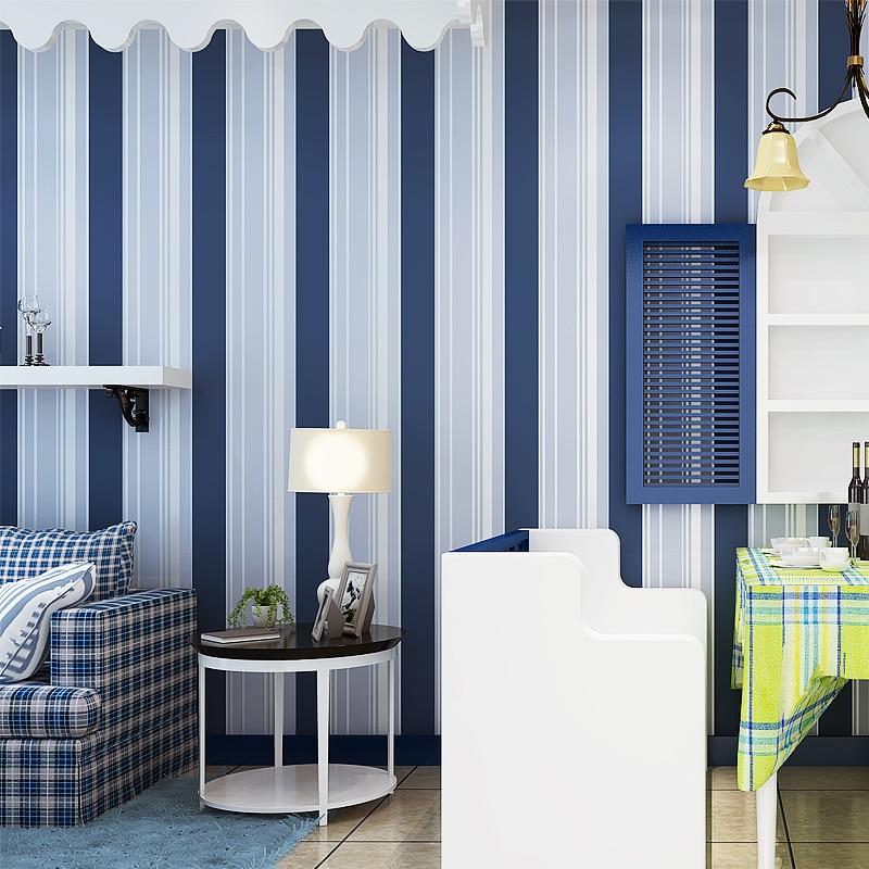 Papel tapiz simple de WELLYU, rayas verticales azules y blancas, papel tapiz de fondo, sala de estar, dormitorio, habitación de niños