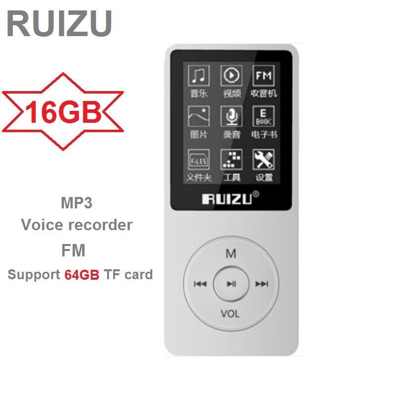 RUIZU X02 Ultrafinos MP3 Jogador USB 8GB Apoio 64GB Tf 1.8 Polegada Jogar em Tela 80h Rádio leitor de Música FM E-Book Gravador de Voz