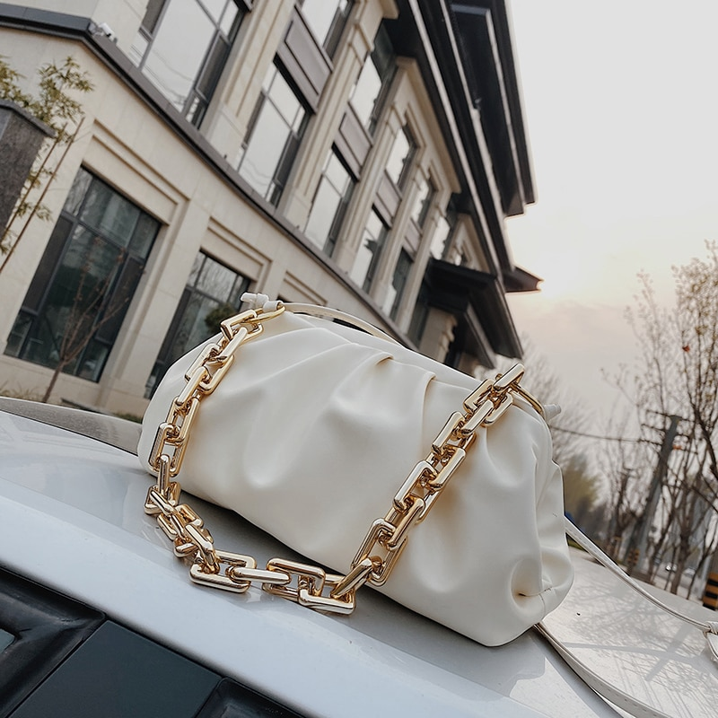 Chain Shoulder Bags for Women 2020 Solid Color Luxury Bag Female Crossbody Messenger Handbags Lady Party Clutch Pleated Tote bag