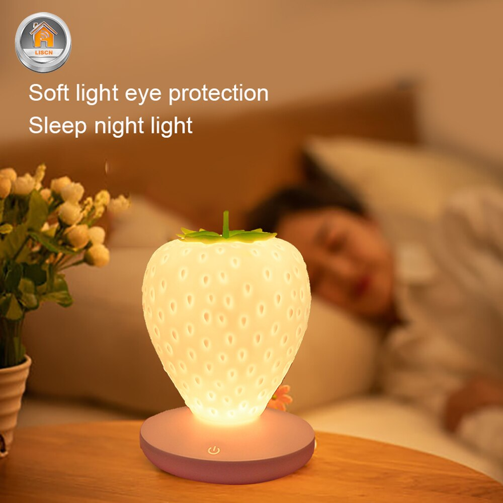 LED Night Light USB Strawberry Shape Novelty Children Lamp Dimmable Modular Touch Lights Bedroom Living Room Decoration Light