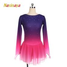Nasinaya Figure Skating Dress Customized Competition Ice Skating Skirt for Girl Women Kids Gymnastics Performance Gradient Pink