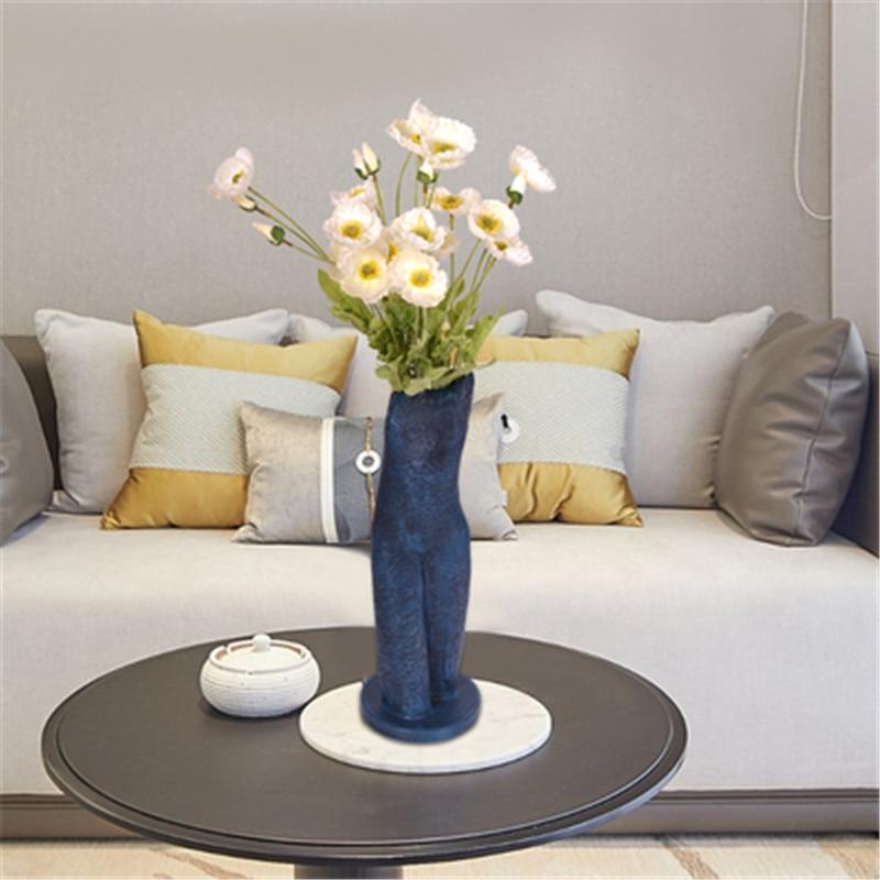 European Style Abstraction Body Art Half-length Portrait Resin Sculpture Vase Creative Home Flower Arranging Decor X5722