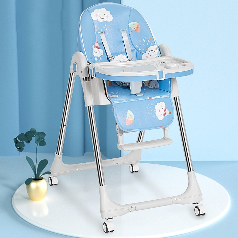 High-foot feeding chair children dining chair foldable Multifunctional portable Household baby dining table and chair