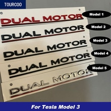For Tesla Model 3 3D Dual Motor Emblem Sticker Car Styling Modified Garnish Accessories