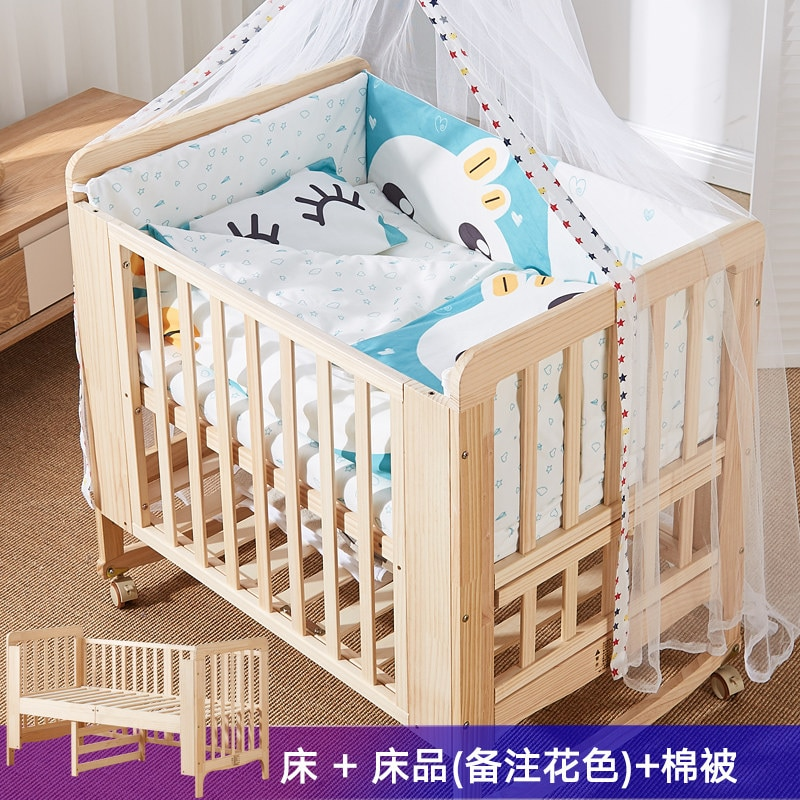 839 Crib Movable Joint Bed Solid Wood Non-Paint Newborn Baby BB Cradle Multi-functional Children Newborns enlarge