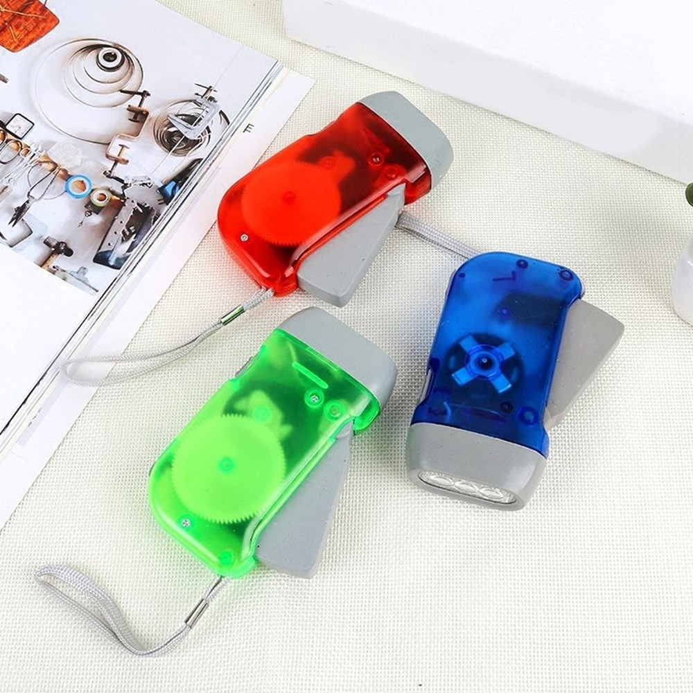 LED Lights Hand Pressing Dynamo Crank Power Flashlight Torch Light Camping Lamp Built In Battery Out