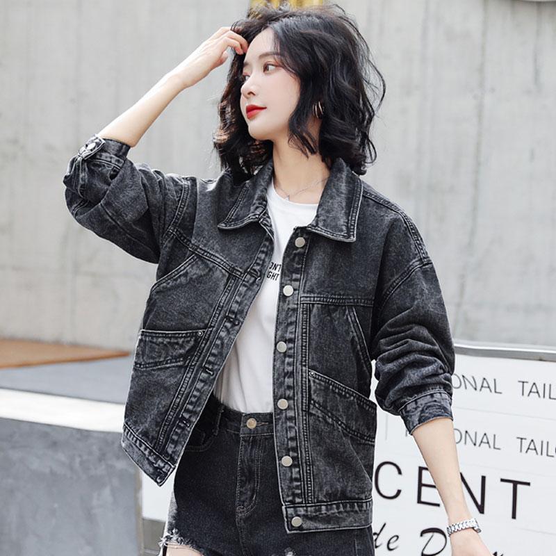 Vintage الدنيم سترة سترة غير رسمية الدنيم معطف المرأة Vintage أسود الخريف 2020 جديد الكورية على غرار طويلة الأكمام معاطف فضفاضة 96B