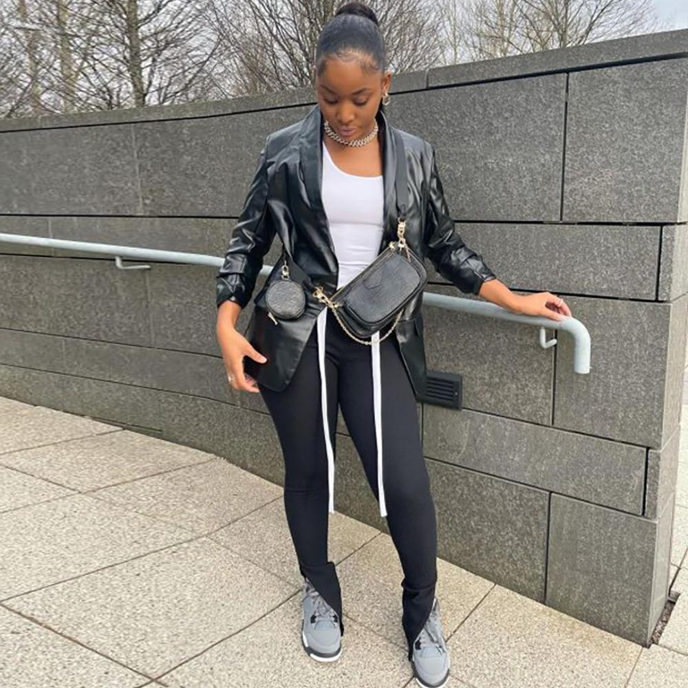 Rأنيق 2021 الخريف المرأة المتضخم جلد صناعي أسود الأساسية معطف جيب بدوره إلى أسفل طوق موتور السائق سترة