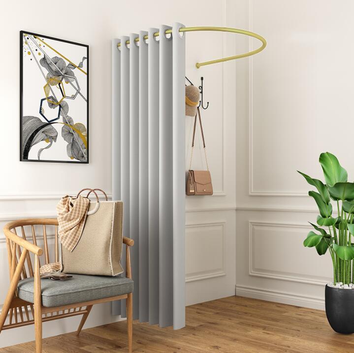 Loja de roupas sala de montagem cortina vestiário u-ring frame pólo partição cortina de pano espessamento cortina