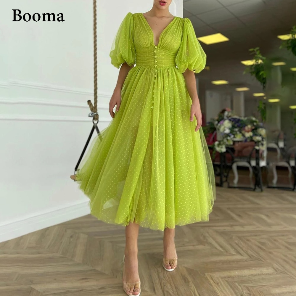 Booma Lemon Green Dotted Tulle Prom Dresses V-Neck Half Puff Sleeves Midi Prom Gowns Buttoned Tea-Length Wedding Party Dresses army green v neck half sleeves curved hem blouses