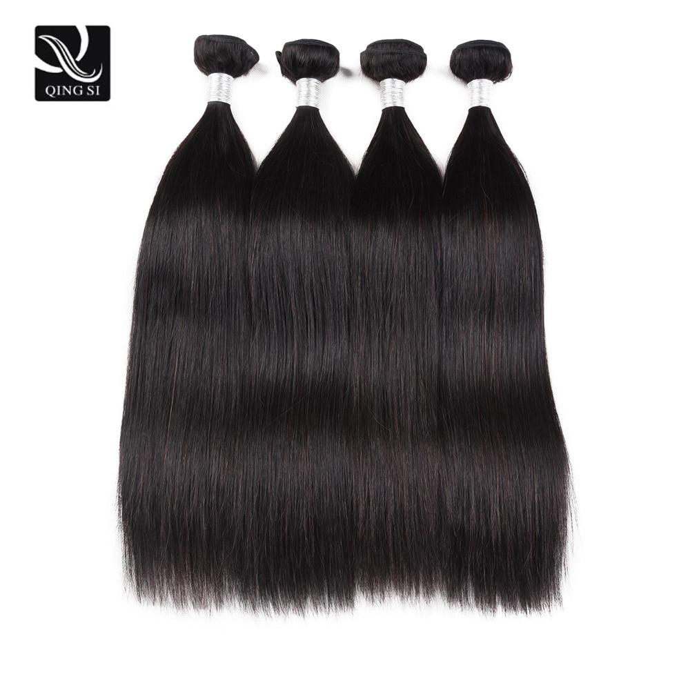 Pacotes de cabelo humano 4 pacotes de cabelo em linha reta feixes de cabelo humano remy feixes de cabelo natural preto extensão do cabelo humano pacote ofertas mulher