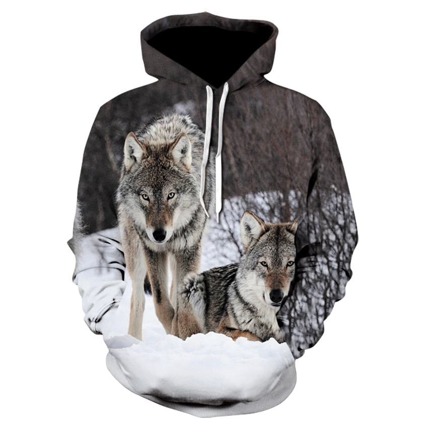 2021 spring and autumn new 3D printing anime wolf head mens womens hoodies hip-hop