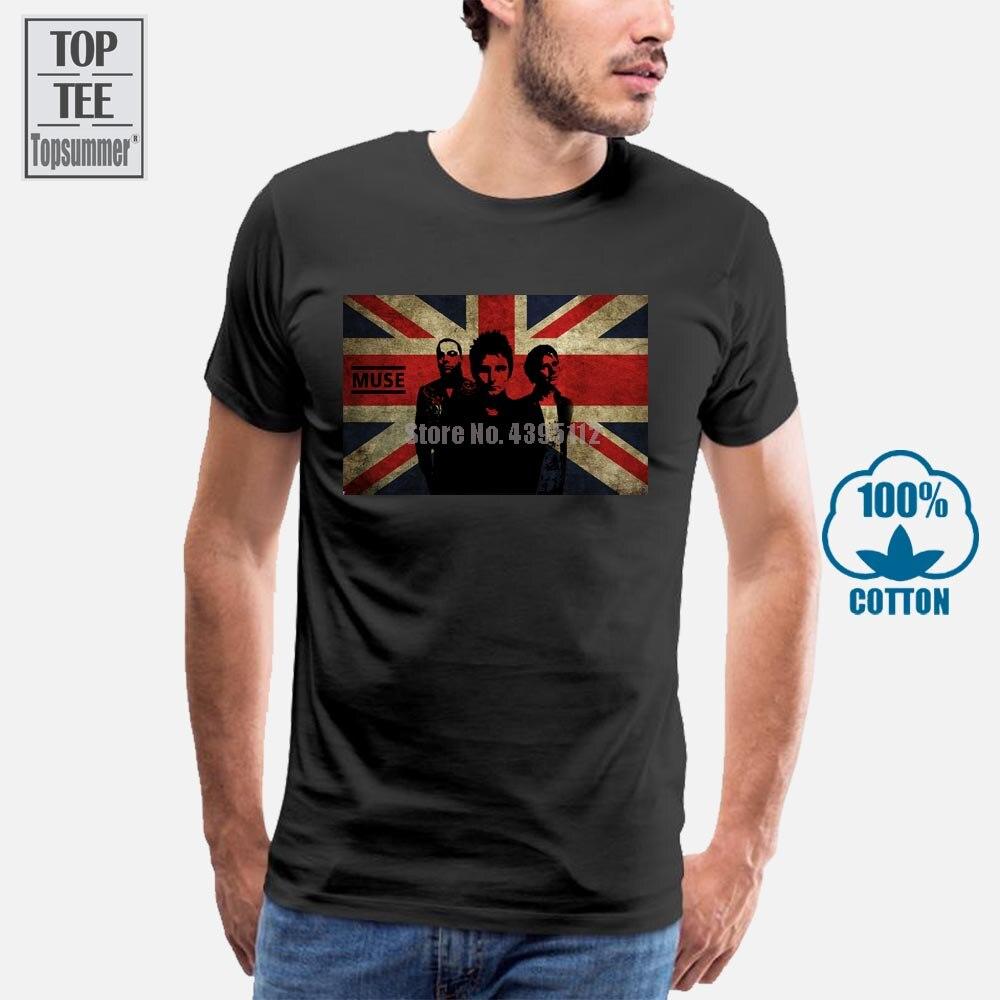 Muse, футболки с британским флагом, футболка большого размера из хлопка, мужские хлопковые футболки в байкерском стиле, футболка большого раз...