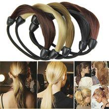 Mode coréenne perruque porte-queue de cheval tresses cheveux torsion élastique bandeau