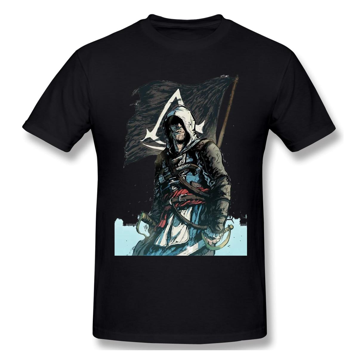 Camiseta assassins creed, camiseta roja, negro, Cool para hombre, moda, manga corta