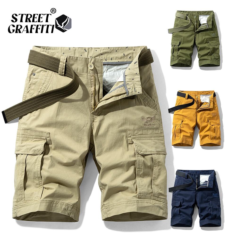 2021 New Spring Men Cotton Cargo Shorts Clothing Summer Casual Breeches Bermuda Fashion Beach Pants Los Cortos Cargo Short Men