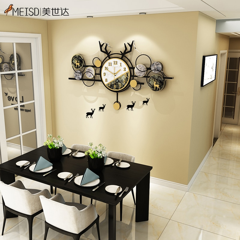 MEISD Large Deer Design Watch Pendulum Wall Art Poster Clock Creative Interior House Decor Horloge Silent Kitchen Free Shipping