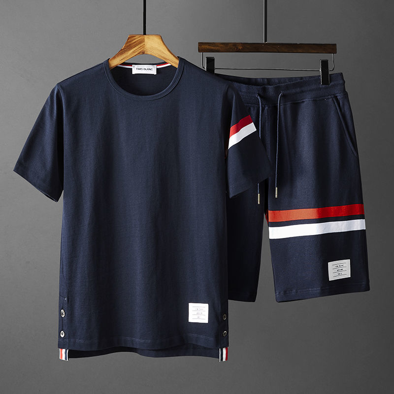 Summer sports Outfits men's shorts T-shirt couples red, white and blue bar fashion casual two-piece set