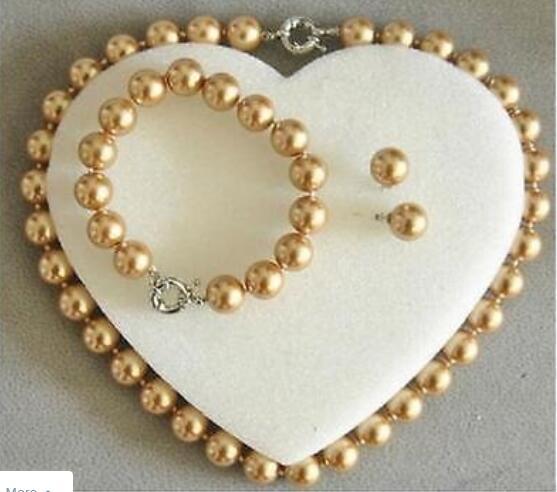 Ювелирные изделия Редкие 10 мм Настоящее Южное море Золотой корпус жемчужное ожерелье браслет серьги набор AAA