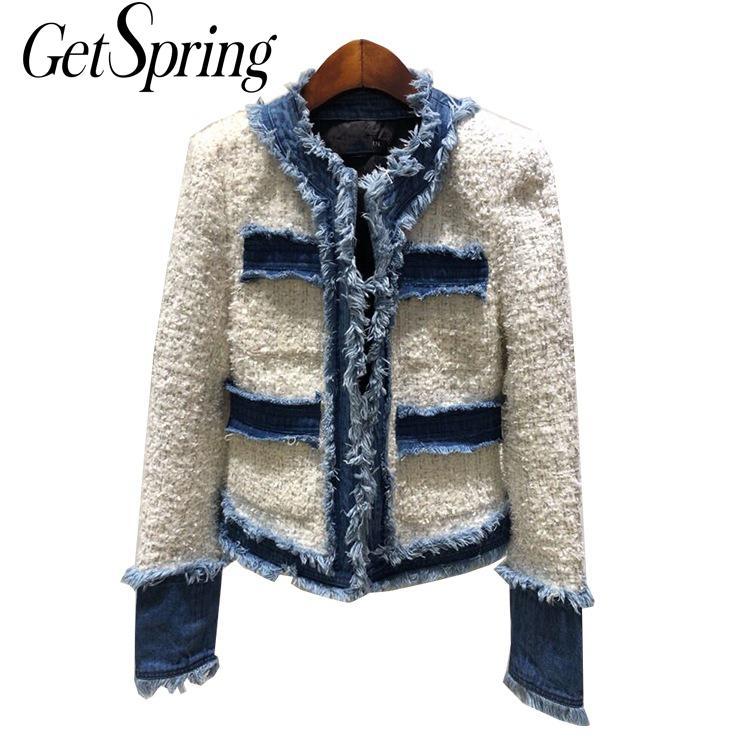 GETSRING, chaqueta de mujer, chaqueta de manga larga de Tweed empalmada de vaquero, chaqueta de mujer, chaqueta vaquera, abrigo de vaqueros, ropa de otoño invierno 2019