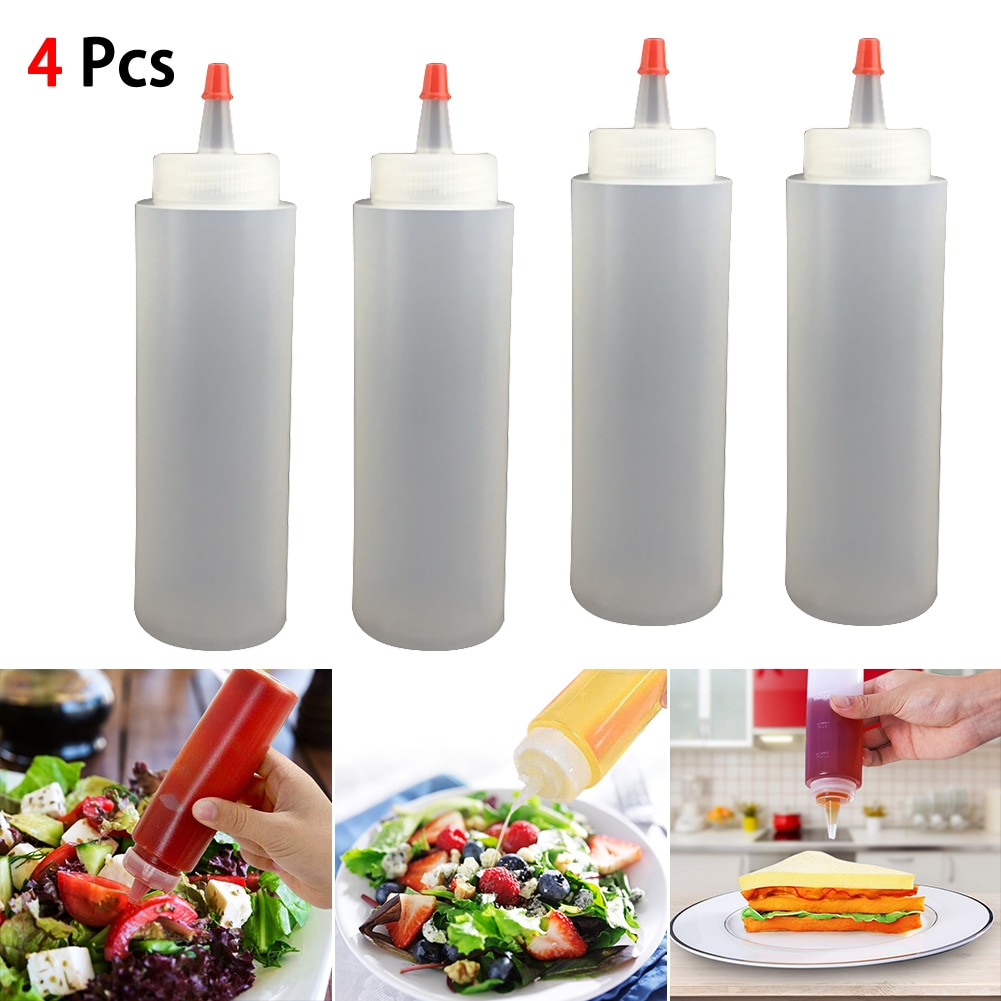 Botella de plástico con boquilla de aguja de 4 Uds con botella exprimible a escala con tapa a prueba de fugas, botella exprimible para salsa y ensalada