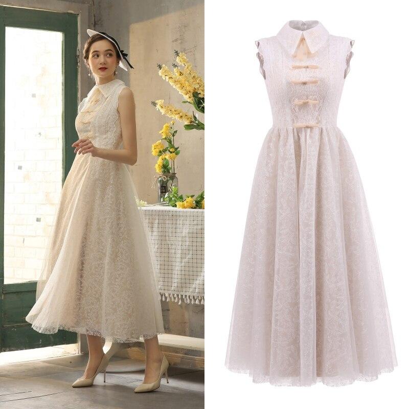 Женское кружевное платье VINTEAGE, однотонное платье цвета шампанского длиной ниже колена с подкладкой, для свадебных торжеств и на каждый день