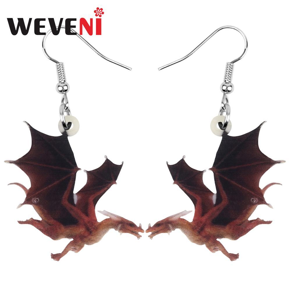 WEVENI Acrylic Flying Dinosaur Dragon Earrings Animal Drop Dangle Jewelry For Women Girl Teen Charm Hot Sale Gift Bulk Accessory