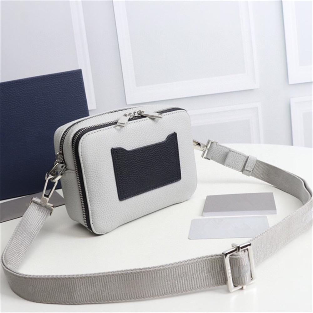 2021 men's and women's white leather messenger bag fashion casual simple shopping portable travel one-shoulder backpack