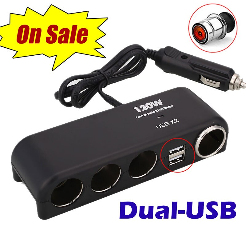 Universal 12V 24V 4 Way Cigarette Lighter Multi Socket Car Splitter ABS Dual USB Charger Adapter Black Auto Interior Parts