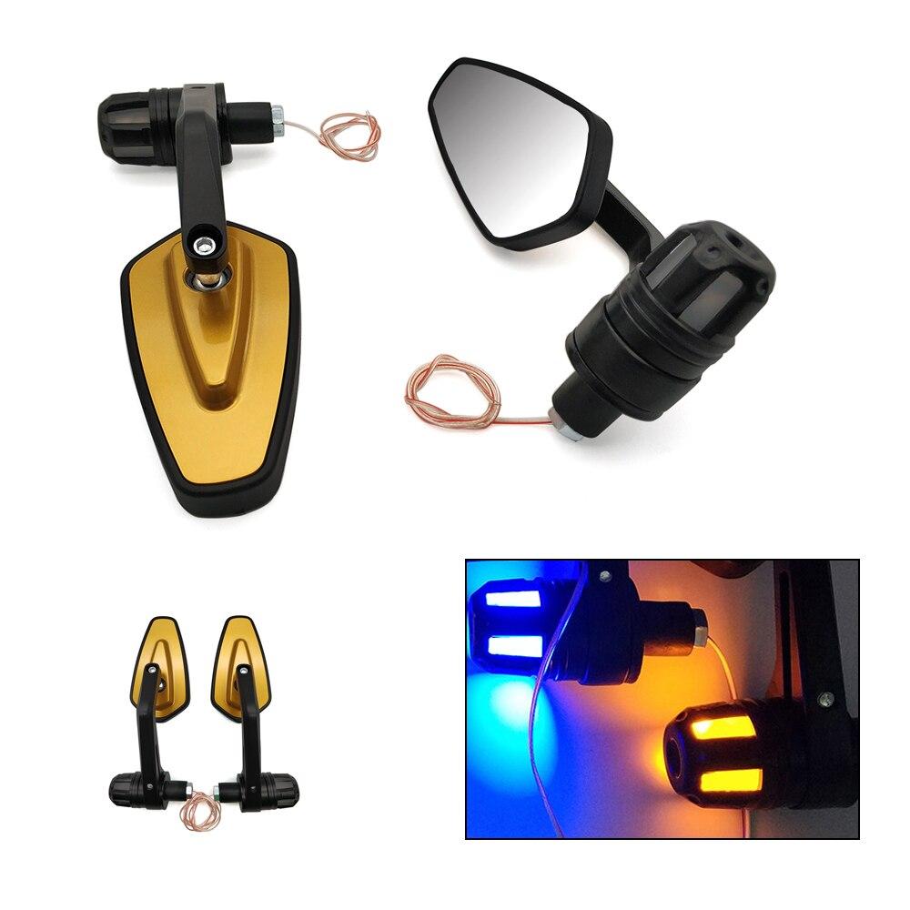 Espejo lateral de motocicleta LED Barra de manillar espejos de luz de señal de giro para Honda CB 400SF R650R 650 125 R r900hr XADV 750 X-11 RC51