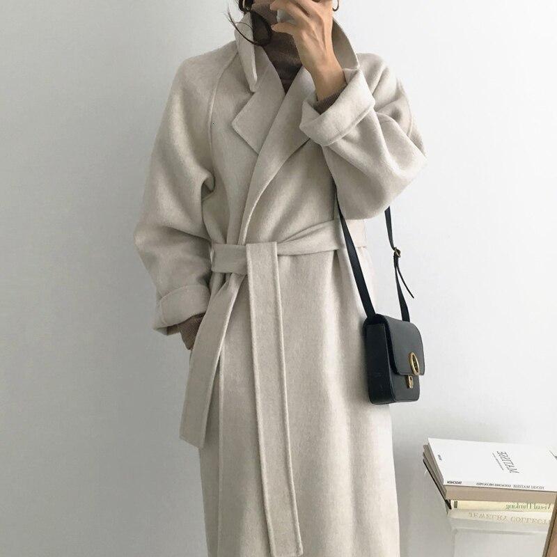 [EWQ] 2019 jesienno-zimowa nowy minimalistyczny pełna rękaw wełny wełniany płaszcz długa, ciepła ciepłe kolory moda Casual luźny wełniany płaszcz QL879