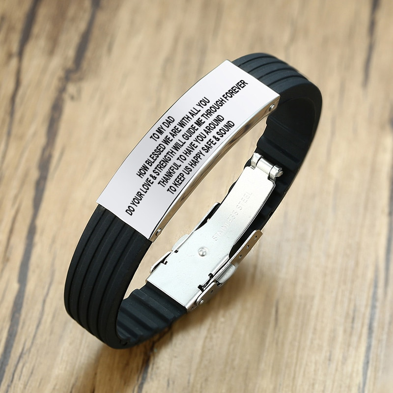 Men Silicone Bracelets Custom To Dad Logo Engraving Stainless Steel Identification Wristband ID Bracelet For Father's Day Gift customized silicone medical alert id bracelet waterproof stainless steel adjustable emergency identification bangle wristband