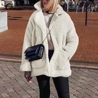 2021 women fashion warm fur jackets celmia winter faux fur coats female casual plush overcoat pockets teddy outerwear oversized