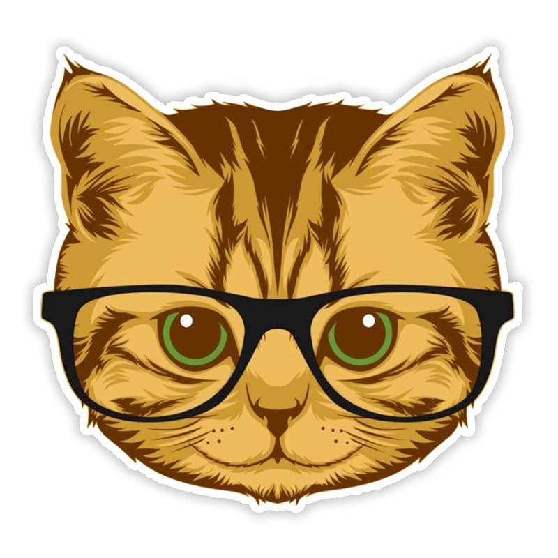 11390 # различные размеры Съемная наклейка кошка с очками Автомобильная наклейка Водонепроницаемая на бампер заднее окно ноутбук
