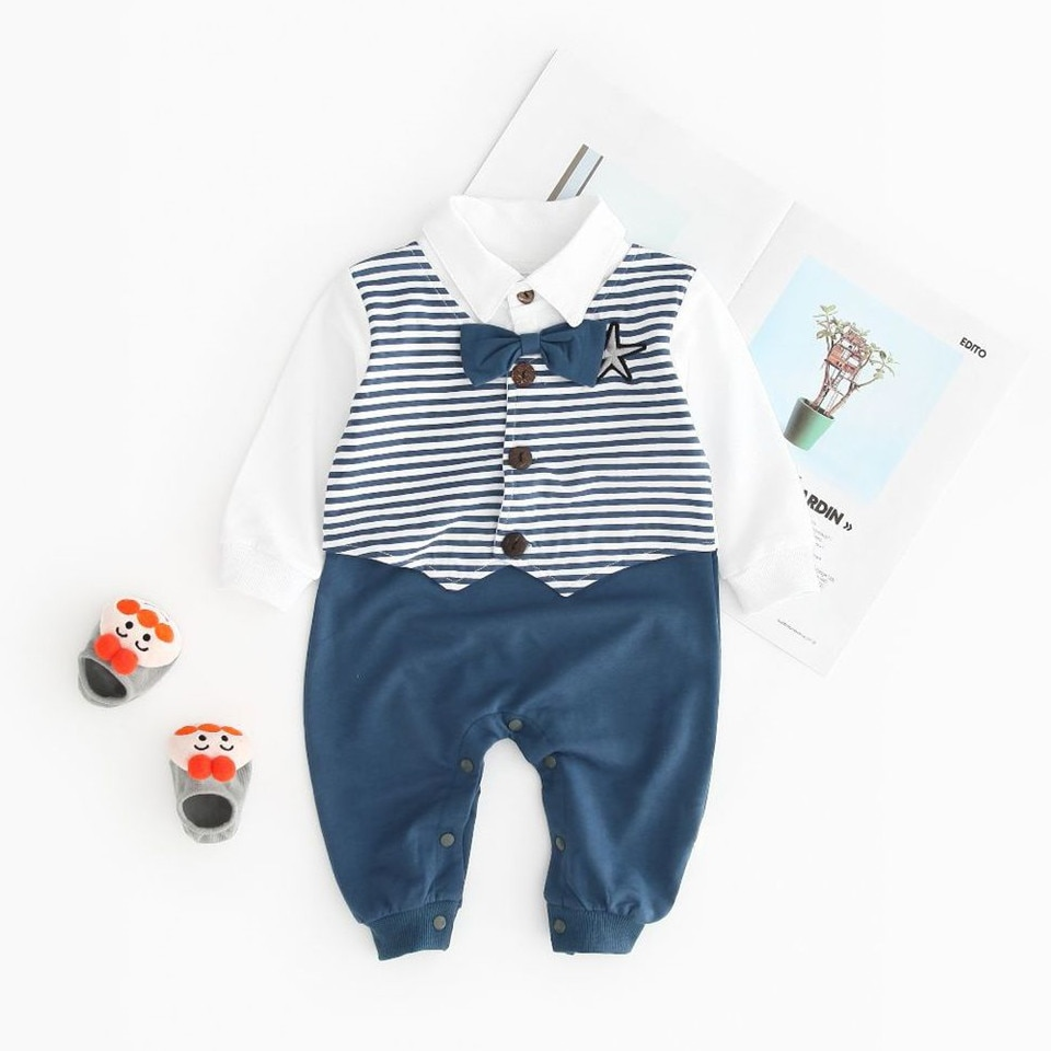 Infant Toddler Boys Romper Gentleman Striped Suits Pentagram Pattern Long Sleeve Baby Autumn Clothes Rompers Outfits