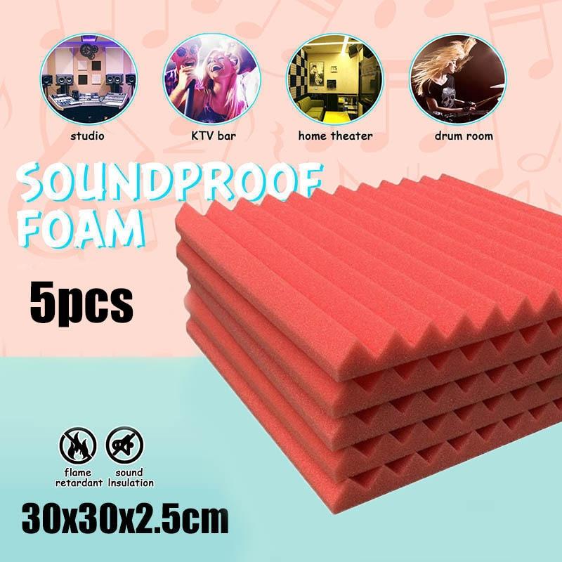 5pcs Acoustic Foam Panel Sound Insulation Stop Absorption Sponge Studio KTV Supplies Soundproof VJ-Drop