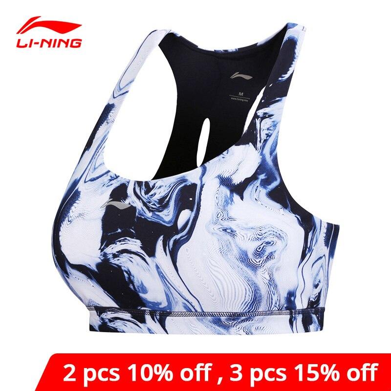 Li-ning feminino desempenho sutiã esportivo suporte médio elástico ajuste apertado respirável li ning forro sutiãs de fitness aubn056 wbj177