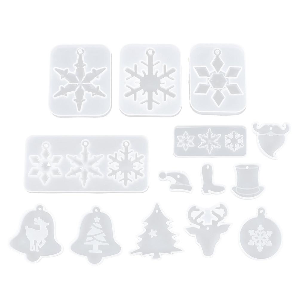 Christmas Pendants Crystal Drop Mold Diy Snowflake Tree Bell Deer Snowman Hat Silicone Wholesale