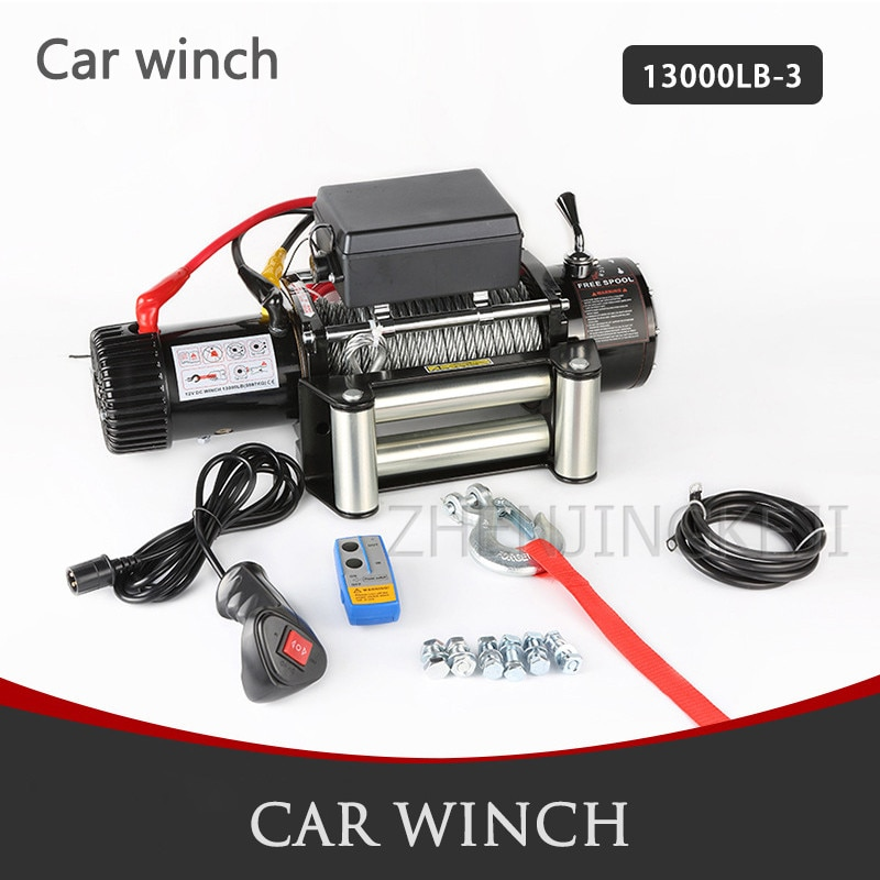 Electric Winch 15000 LB Off-road Vehicle-mounted Vehicle Winch High Power 12V Crane Mud Marsh Anchor Rescue Beach Hauling Tools