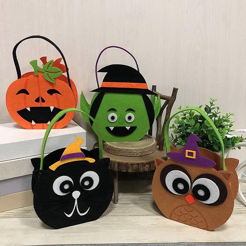 Bolsas de regalo de dulces de Halloween con bolsas de mano con tapa redonda calabaza bruja Halloween decoraciones de tela dulces bolsa