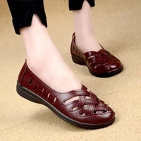 breathable braid loafers women hollow pu leather flats ladies wedge shoes female comfort grid shoes girls flats