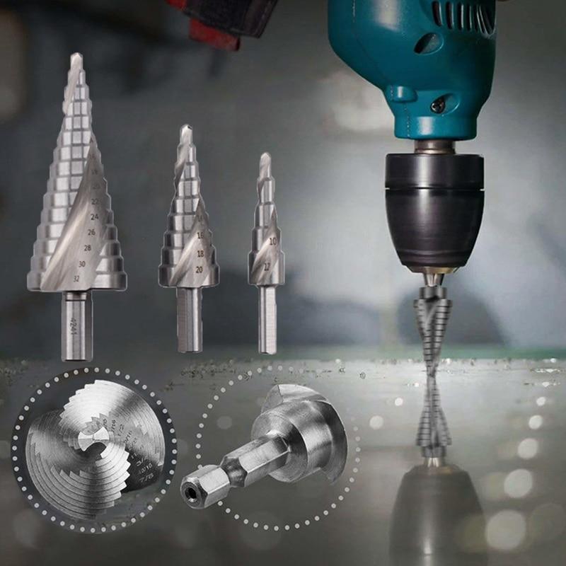 Taladro paso conjunto titanium de perforación de metal de acero de alta velocidad cortador de agujeros para madera cono taladro de cono