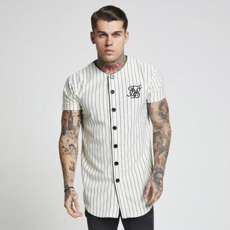 Fashion Summer 2018-2019 Men Streetwear Hip Hop T-shirts  Silk Embroidered Baseball Jersey Striped Shirt Brand Clothing
