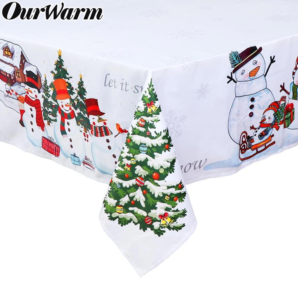 Ourwarm branco toalha de mesa natal boneco de neve impressão à prova drectangular água mesa retangular cozinha jantar decorações
